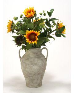 Sunflowers, Bupleurum, Bay Leaf in Jar with Handles