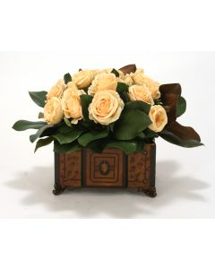 Yellow Roses, Magnolia Foliage in Chocolate Brown Wood Planter