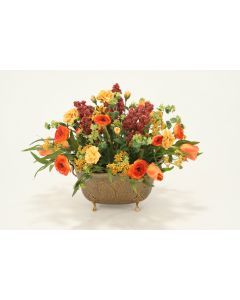 Fall-Toned Tulips, Roses, Ranunculus, Foliage in Antique Brass Pineapple Embossed Planter