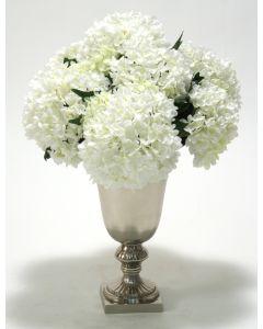 White Hydrangeas in Classic Silver Urn