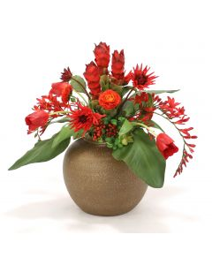 Tropical Fall Mix of Flowers in Fat Tuscan Brown Vase