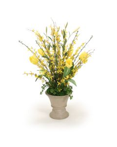 Yellow Floral Garden in Concrete Urn