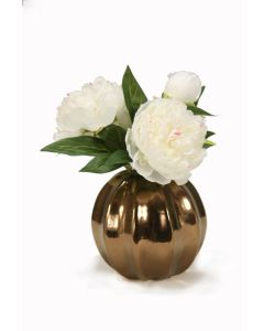 White Peonies in Round Bronze Vase