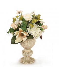 Cream White Hydrangea with Roses in Urn