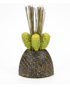 Tropical Green Honey Comb Protea and Reeds in Natural Vase