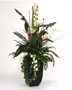 Orchids, Bird of Paradise, Palms and Ferns in Tall Graphite Contempo Planter