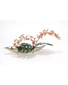 Orange Vanda Orchid with Split Philo Leaves in Silver Metal Tray