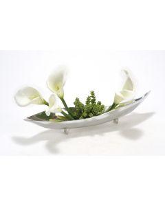 White Calla Lillies in Silver Tray