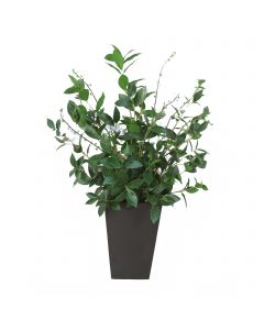 Laurel Greenery With Salix Vine Leaves in Flared Metal Vase