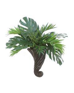Parlor Palm with Springeri in Swirl Cornucopia Sconce