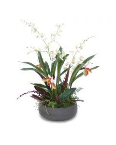 Lady Slipper and Dancing Orchids in Black Wash Bowl