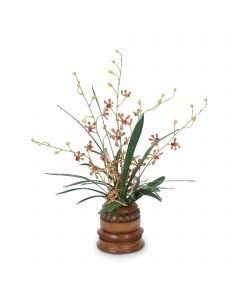 Orchid Foliage in Brown Wooden Vase