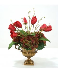 Burgundy Tulips and Rose Green Hydrangeas in Antique Brass Fluted Compote
