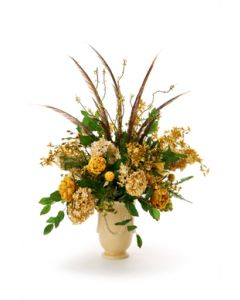 Antique Gold, Green Brown, Ivory Basil and Gold Green in Beige Vase