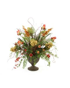Light Green, Rust, Burgundy, Claret, and Gold Floral Mix in Fluted Urn