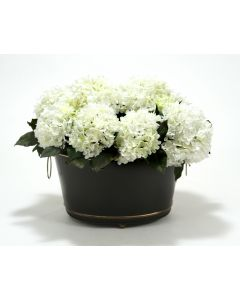 White Hydrangeas, Bay Leaves in Black Oval Tole Planter with Ball Feet
