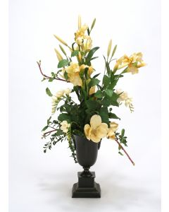 Traditional Cream and Yellow Garden Mix in Metal Urn