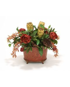 Traditional Spice Tone Floral in Oval Footed Handpainted Wood Planter