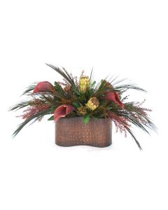 Calla Lilies and Proteas in Kidney Shaped Planter