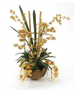 Silk Gold and Green Orchids with Greenery in Leaf Bowl