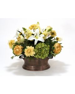Cream Yellow, Gold,Green and White Garden Flower Mix in Oval Copper Planter
