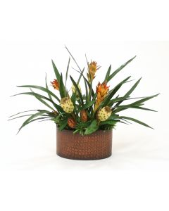 Dried Cream Repens, Tan Proteas, Tropical Foliage in Kidney-Shaped Planter