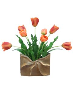 Red-Orange Tulips in A Slim Black Bamboo Envelope Vase
