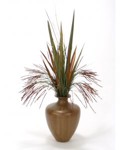 Seeded Grass and Blade Grasses in Brown Vase