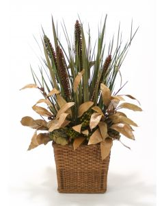 Fall Natural Grasses and Cierus Stalks in Small Rectangle Floor Basket