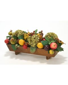 Mixed Fruit and Hydrangeas in Wood Planter