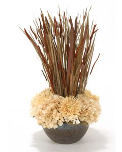 Beige Hydrangeas and Gerbera with Fall Grasses in Crystal Bronze Bowl