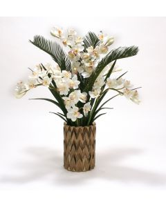 White Cymbidium Orchids and Cycas Palm and Orchid Foliage in Burnt Gold Zig Zag Vase