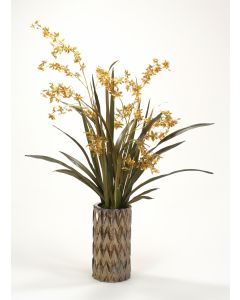 Gold Oncidium Orchids with Natural Grasses in Burnt Gold Ceramic Vase
