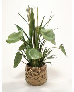 Orchid Foliage Mix in Medium Burnt Gold Gabi Planter