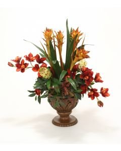 Orchids, Berries, Ranunculus, Protea in Acanthus Leaf Compote