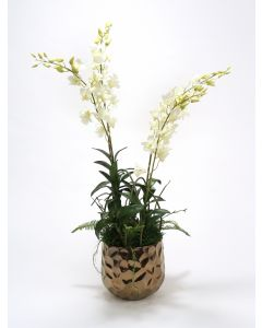 White Orchids and Greenery Mix in Burnt Gold Gabi Planter