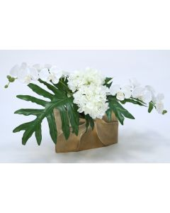 White Orchids and Hydrangeas With Philo Leaves in Gold Ritz Vase