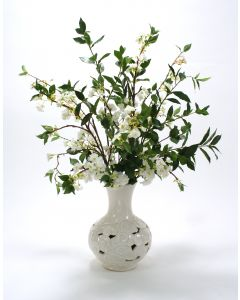 White Cherry Blossoms in White Cloud Vase