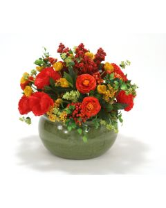 Orange, Red and Gold Garden Mix in Large Green Earthenware Planter
