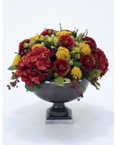 Fall Toned Hydrangea and Rose Mix in Hampton Urn