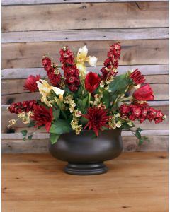 Red & Gold Floral in Brown Oval Concrete Urn