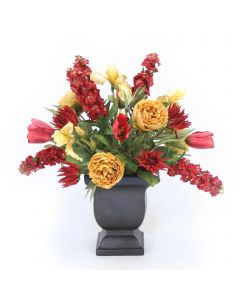 Gold Peonies with Tulips and Stock in Urn