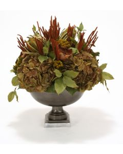 Hydrangeas, Dowood and Greenery in Metal Urn
