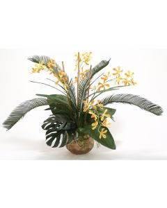Yellow Orange Vanda Orchid with Tropical Foliage in Burnt Gold Gabbi Pot