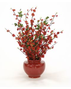 Brick Red Blossoms in Red Vase