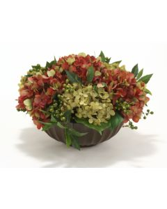 Mixed Hydrangeas in Fluted Bowl