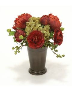 Rust Ranunculus with Spice Peony and Hydrangea in Bronze Mint Julep
