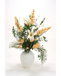 Peach and Cream Floral in Cream Linen White Fluted Vase