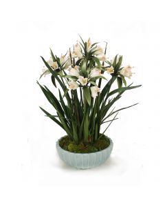 Crown Imperial in Pale Blue Fluted Bowl