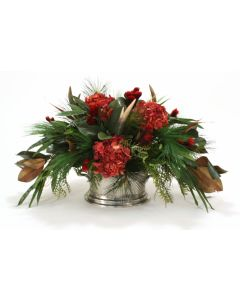 Harvest Centerpiece with Deer Horns and Feathers in Oval Pewter Planter